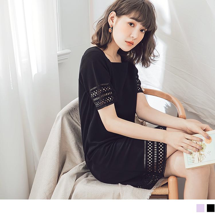 純色鏤空燒花梯形領不易皺洋裝