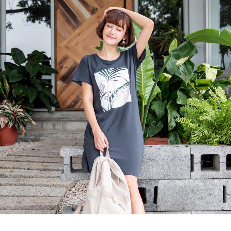 清爽慵懒麻棉叶片印图长版上衣/洋装