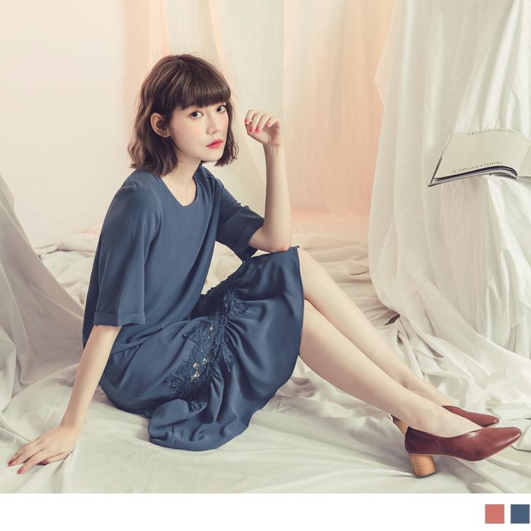 純色袖反褶雪紡拼接鏤空蕾絲洋裝