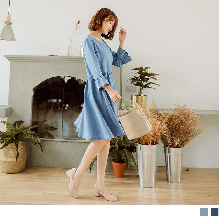 棉感純色荷葉袖牛仔洋裝