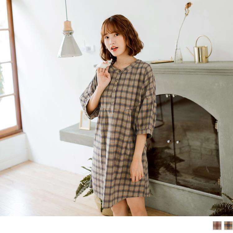 高含棉格紋排釦寬鬆洋裝