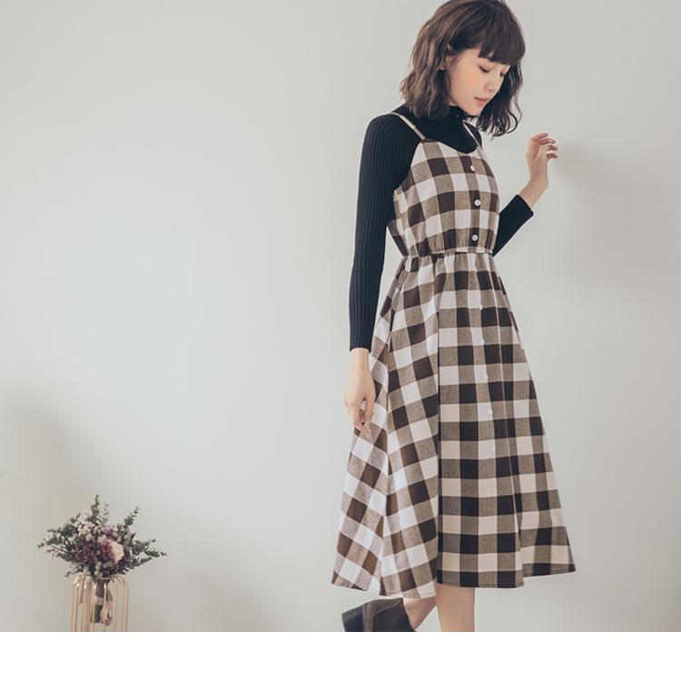 配色磨毛格紋排釦設計吊帶洋裝