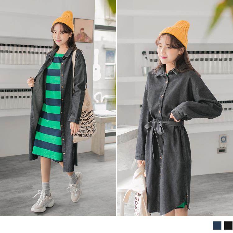 高棉排釦附腰帶牛仔洋裝/罩衫