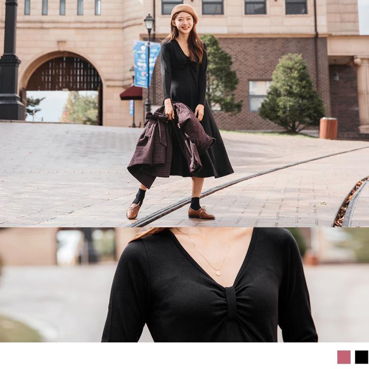 垂墜感蝴蝶結抓皺設計合身純色長洋裝