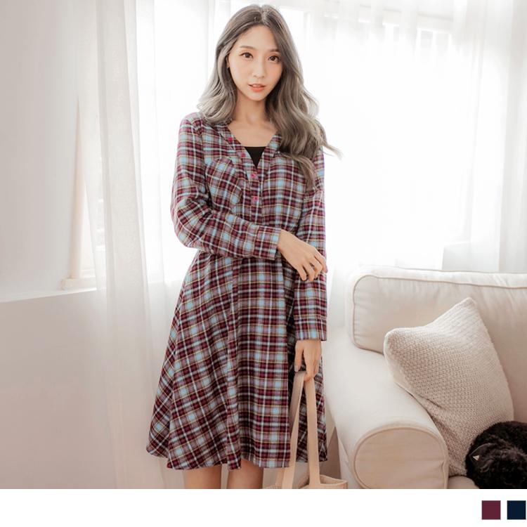 磨毛格紋排釦假兩件洋裝