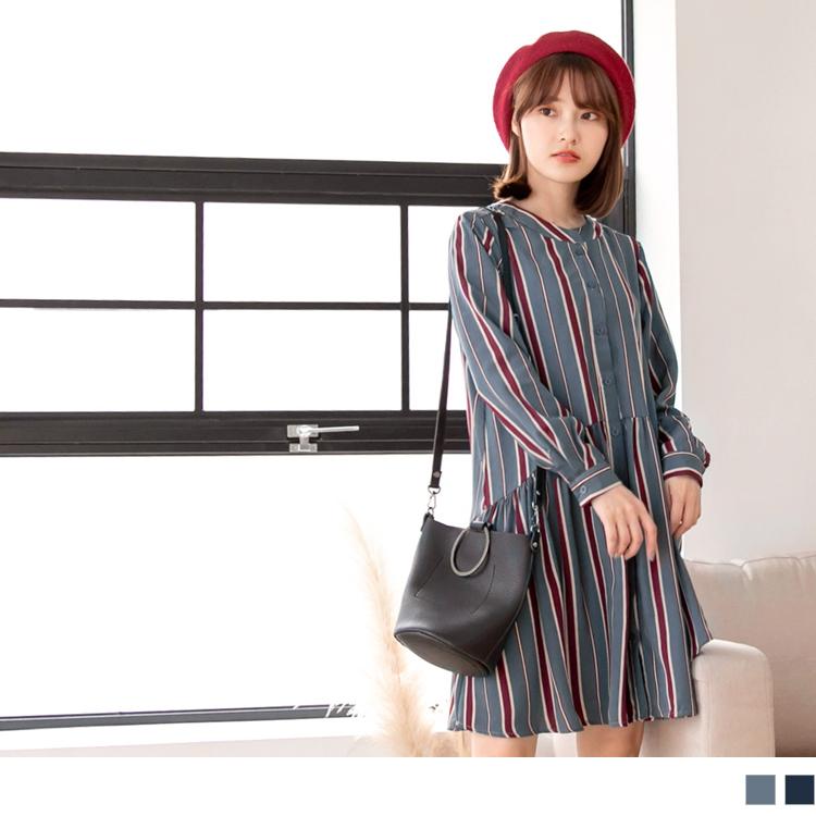 配色直條紋排釦圓領洋裝