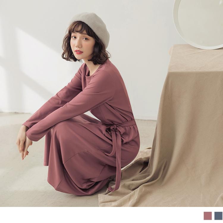 純色腰抽繩側開衩長洋裝
