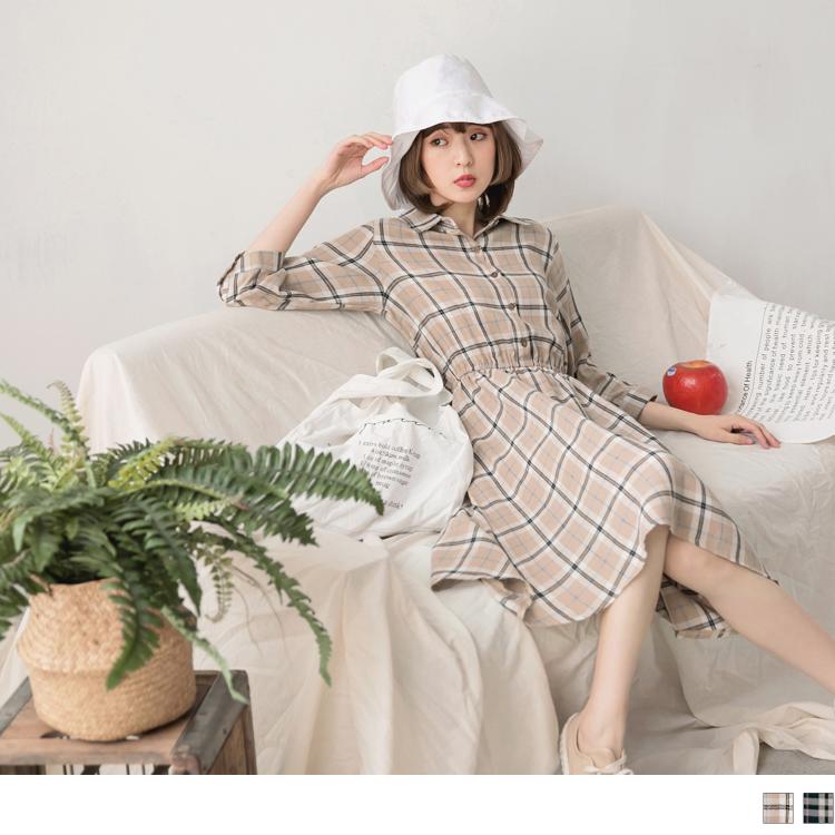 高含棉格紋腰鬆緊排釦襯衫洋裝