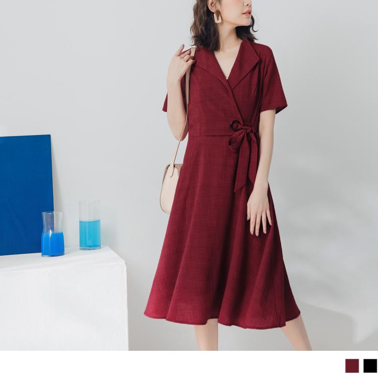 純色不易皺綁帶設計V領洋裝