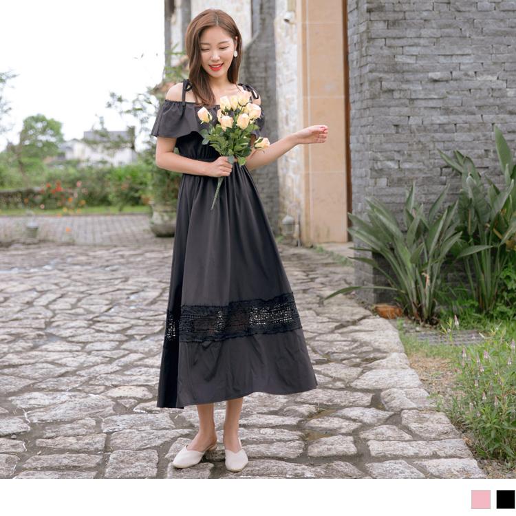 婚禮系列~蕾絲雕花拼接下襬露肩綁帶一字領/圓領長洋裝