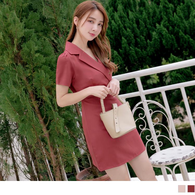 簡約感襯衫領純色合身雪紡洋裝