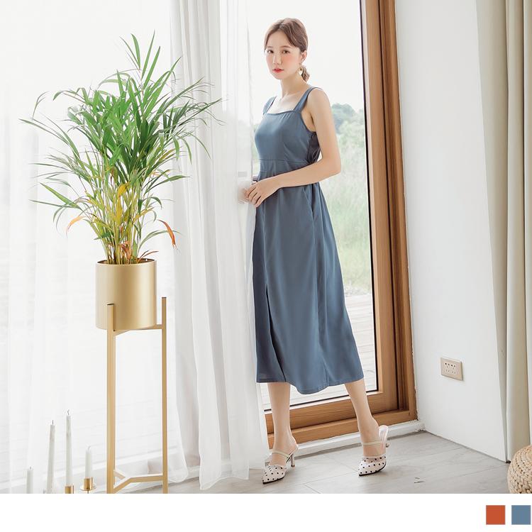 純色腰身前開衩不易皺連身裙
