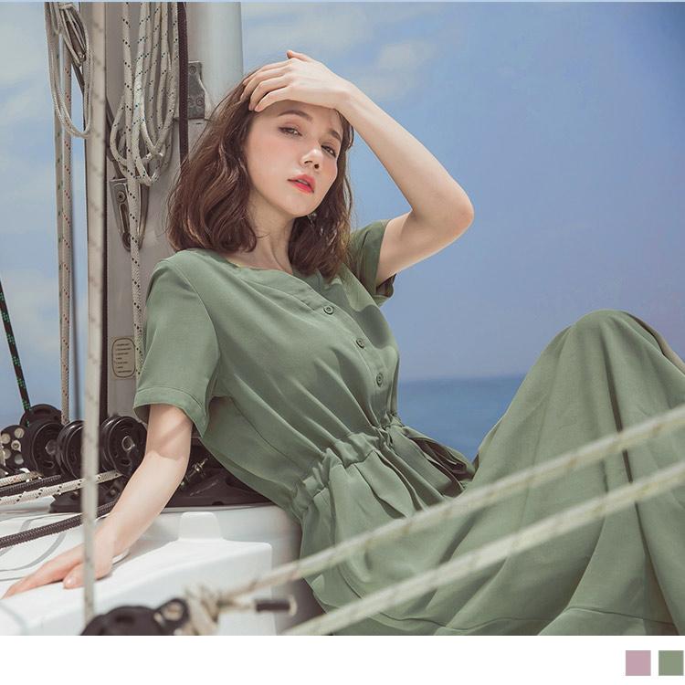 修身收腹綁帶排釦V領長洋裝