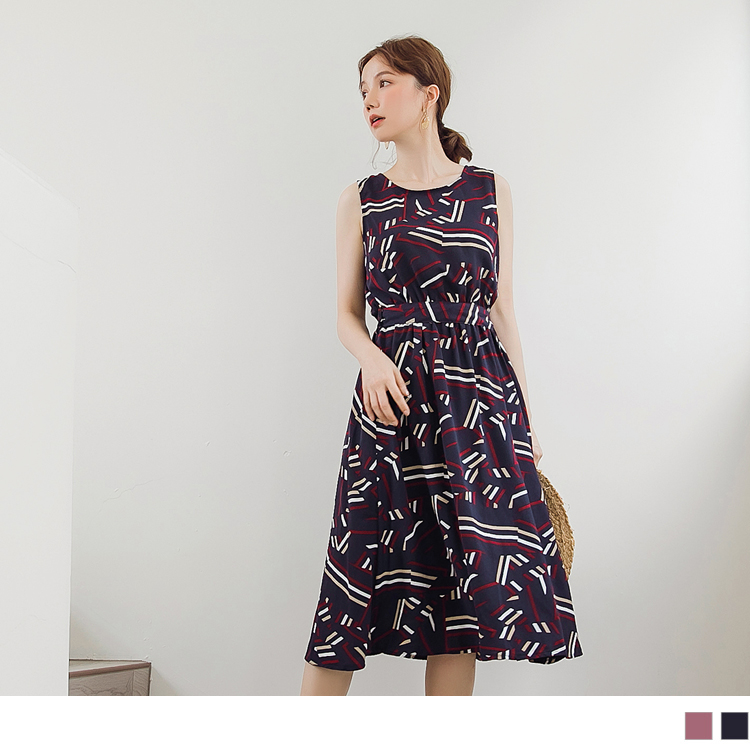 不易皺滿版幾何傘擺綁帶長洋裝