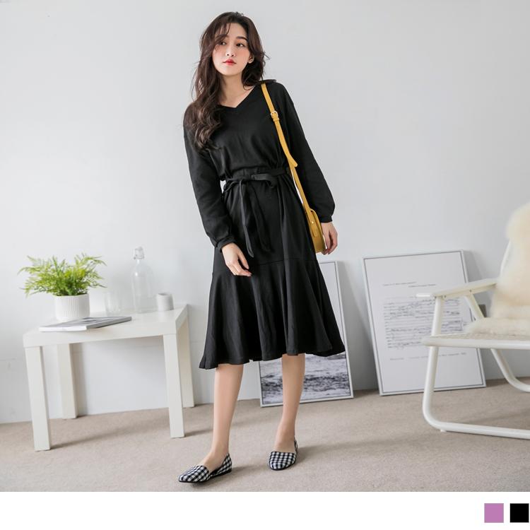 拼接荷葉裙襬V領綁帶洋裝