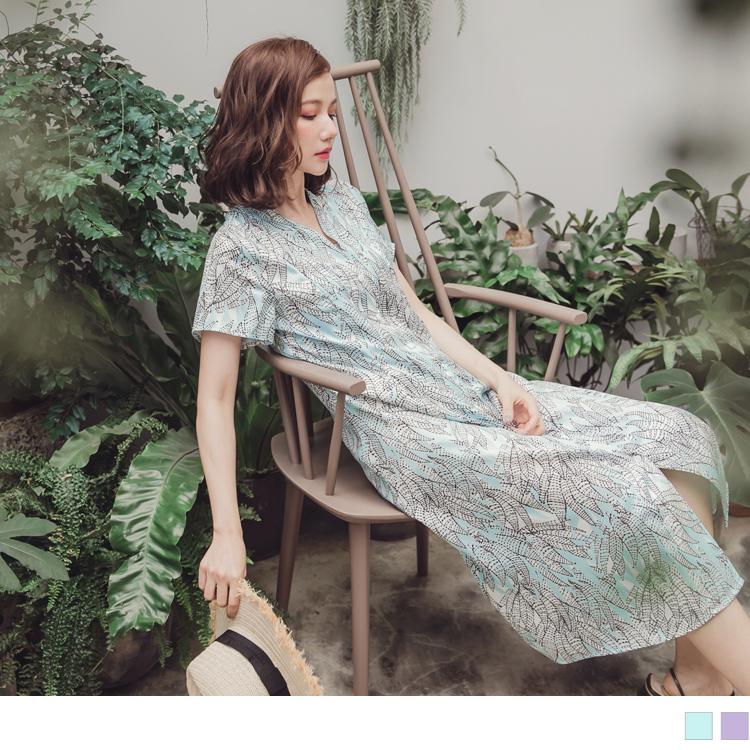 馬卡龍輕爽配色夏日印花襯衫領洋裝