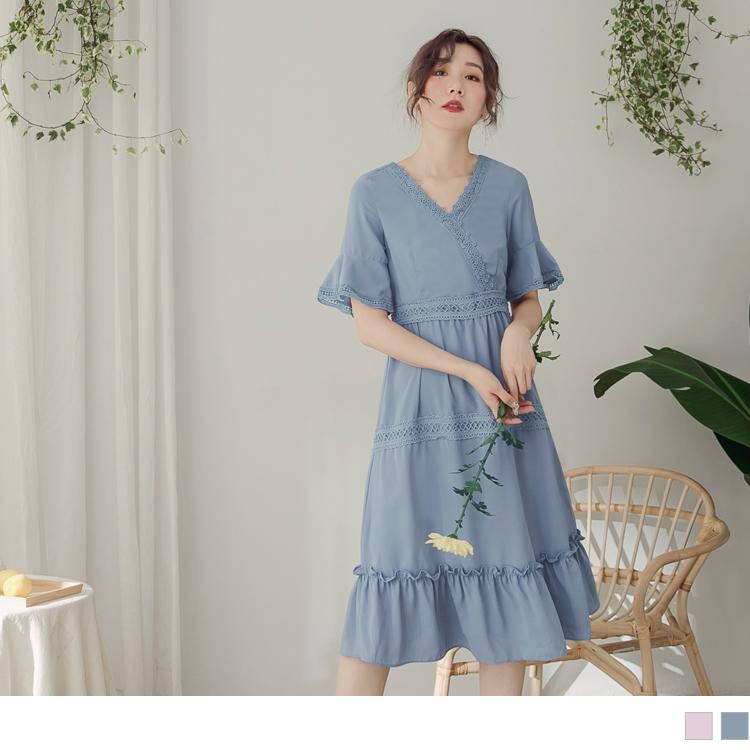 純色布蕾絲層次波浪下擺雪紡洋裝
