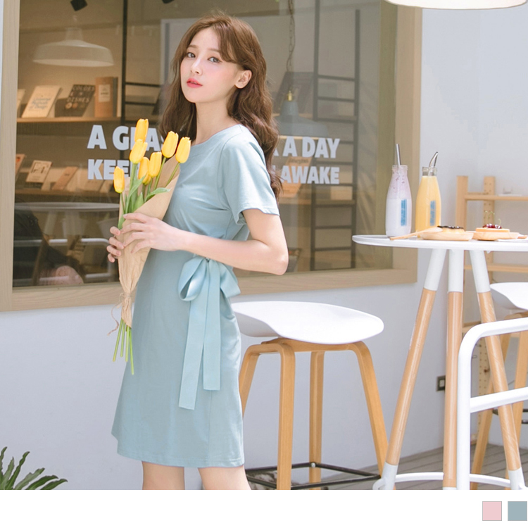 高含棉腰蝴蝶結綁帶純色圓領短袖洋裝