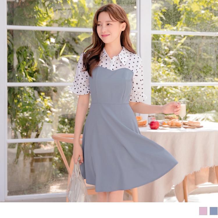 假兩件襯衫領點點印花拼接純色傘襬荷葉袖洋裝