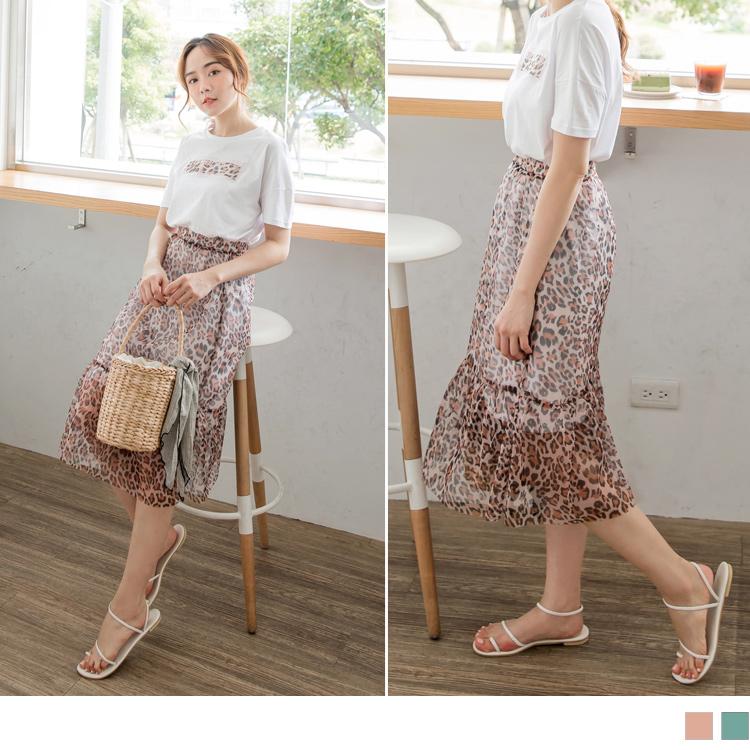 高含棉英文字刺繡外罩豹紋紗裙洋裝