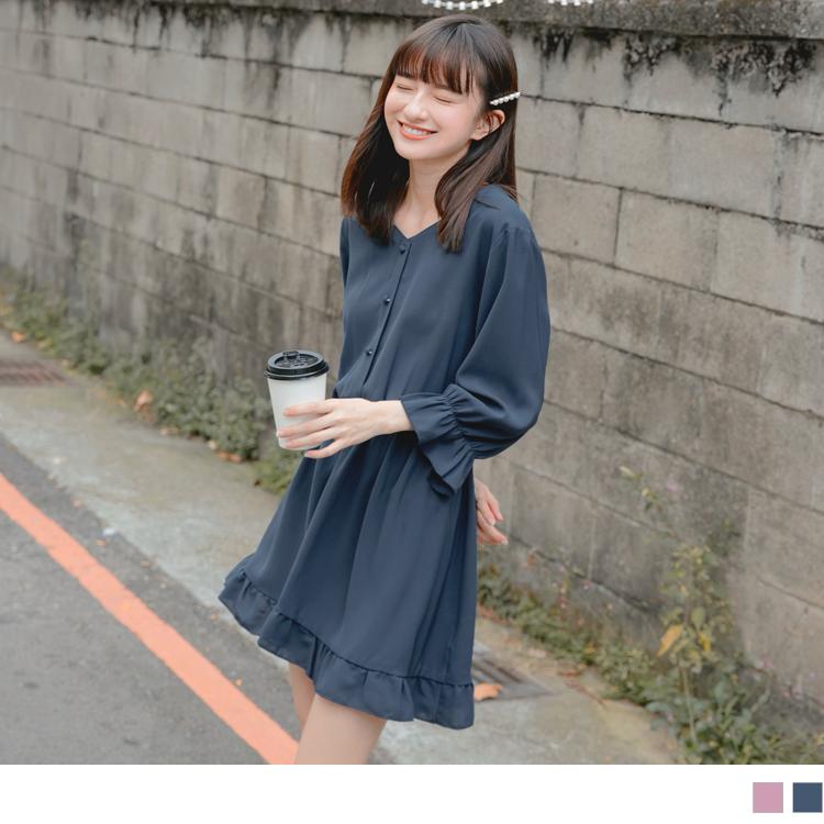 甜美荷葉裙襬腰鬆緊小拋袖雪紡洋裝