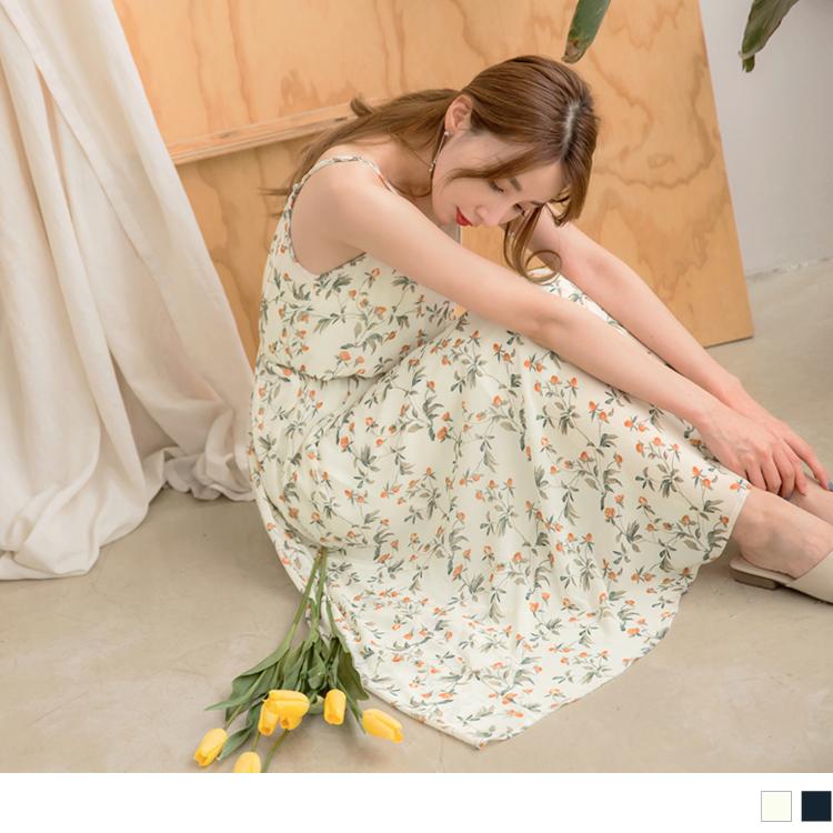 滿版夏日印花細肩帶收腰綁帶長洋裝