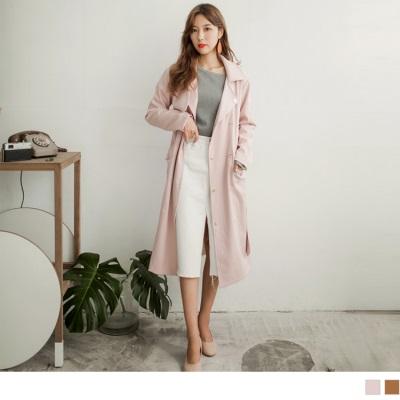1005新品 附腰帶翻領雙排釦長版風衣外套