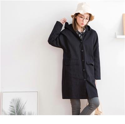 1006新品 高含棉連帽素面長版外套