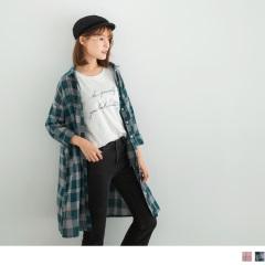 高含棉格子雙口袋長版襯衫