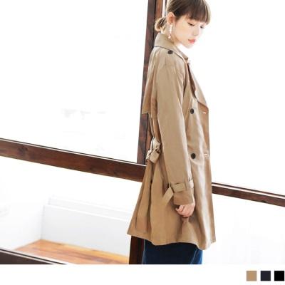 1005新品素色俐落剪裁風衣外套