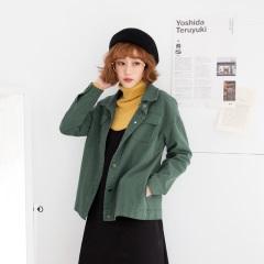 素色挺版雙口袋高含棉長袖襯衫外套.3色