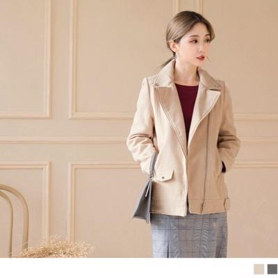 1012新品 素色柔質翻領造型騎士外套