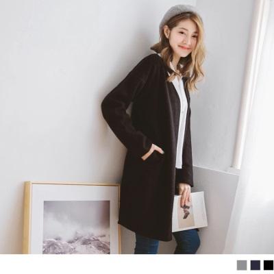 1012新品 開襟長版磨毛外套