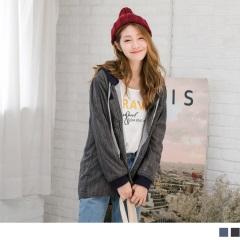 細格紋配色連帽抽繩寬鬆長版外套