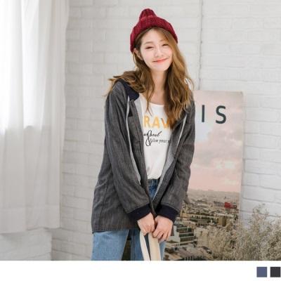 1013新品 細格紋配色連帽抽繩寬鬆長版外套
