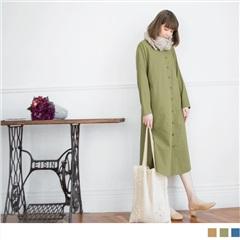 高含棉素面側口袋長版襯衫/罩衫