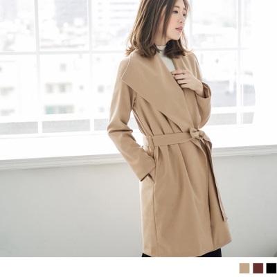 1025新品 大翻領開襟腰綁帶長版外套