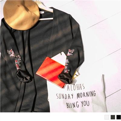台灣製造.袖子刺繡開襟長版外套/罩衫