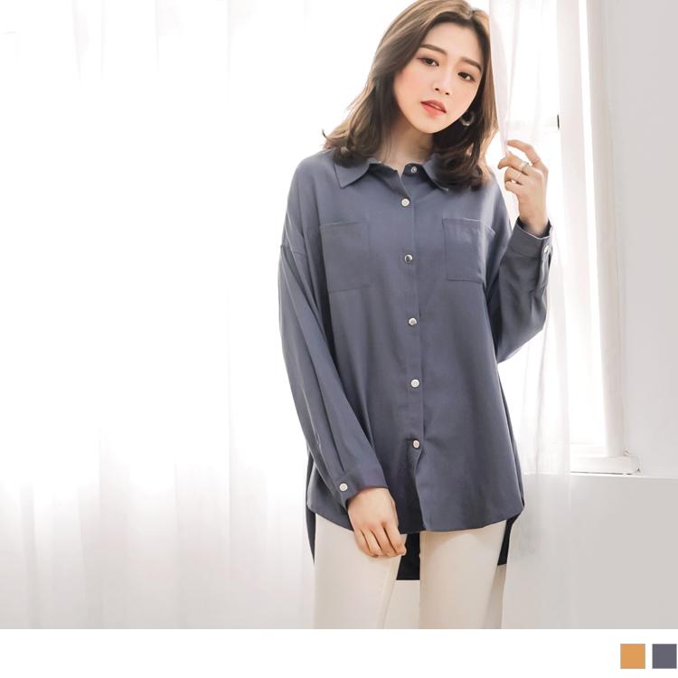 高含棉纯色宽长版衬衫/外套