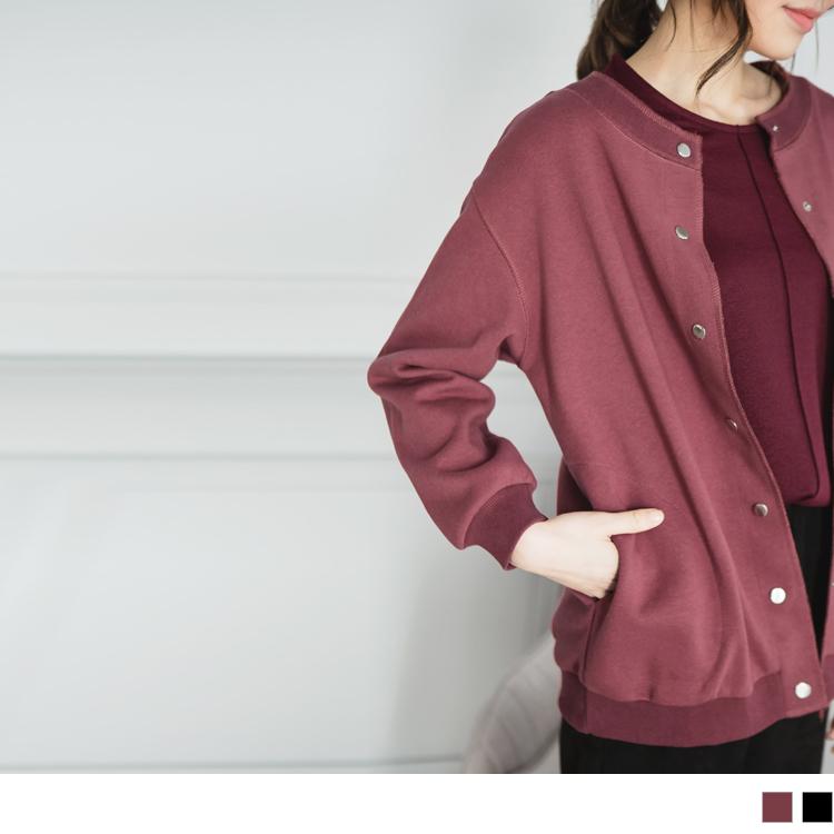 高含棉质感纯色棒球外套