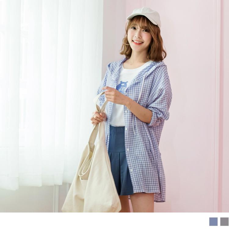 高含棉柔软舒适格子连帽抽绳宽松长版罩衫/外套