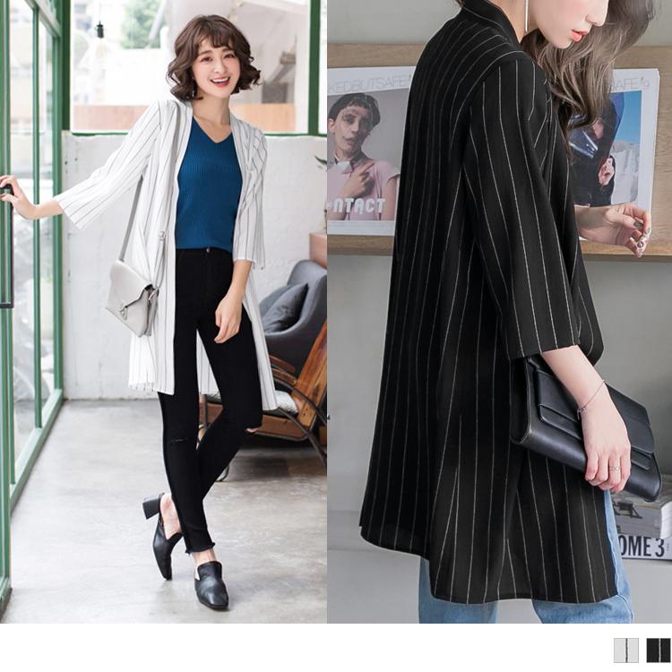 黑白配色直条纹七分袖长版罩衫