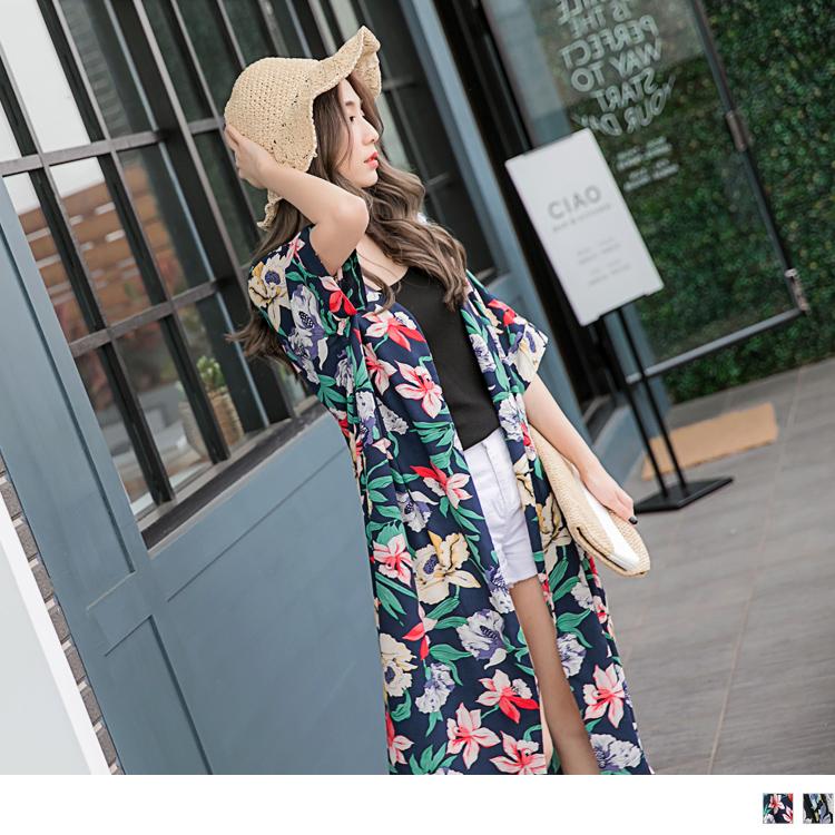 满版缤纷花朵防晒长版开襟罩衫外套