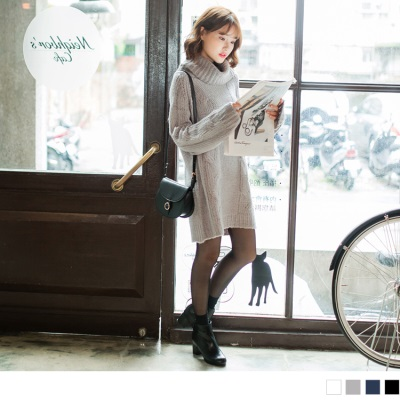 0929新品 素色高領麻花針織洋裝.4色