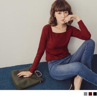 【週三新品】素色方型領合身細針織彈力上衣.3色
