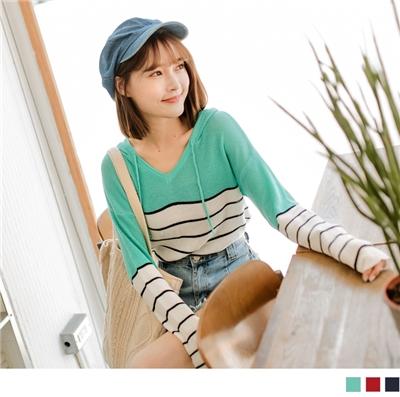 0922新品 高棉拼色條紋針織連帽上衣
