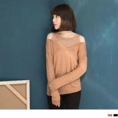 素面拼接條紋挖肩設計長袖針織上衣.2色
