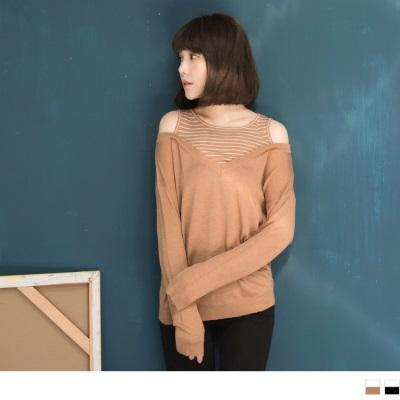 【週三新品】素面拼接條紋挖肩設計長袖針織上衣.2色