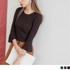 0921新品 素色坑條喇叭袖細針織圓領上衣.3色