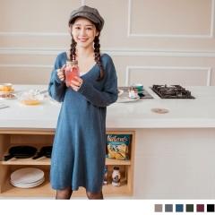 素色針織v領長版上衣/洋裝